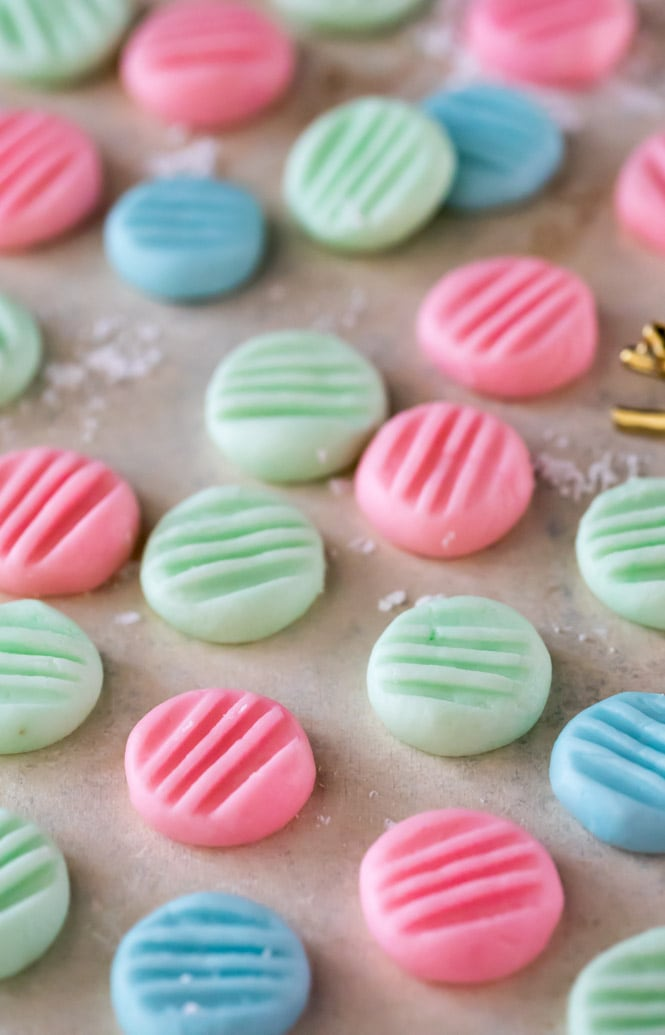 cream cheese mints on white surface