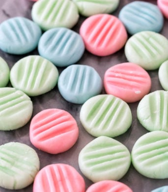 cream cheese mints on marble surface