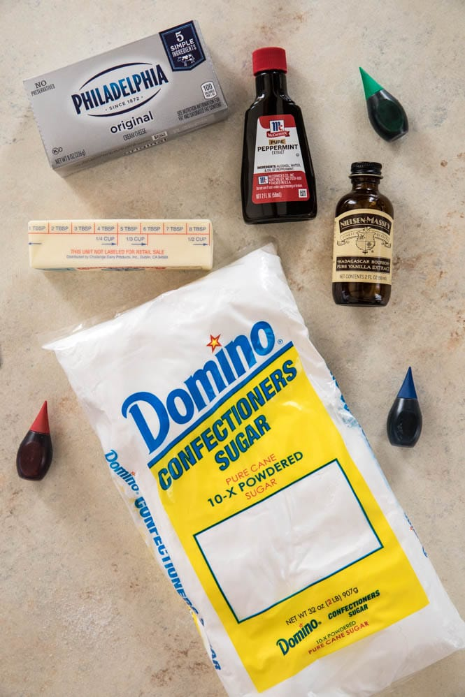 Ingredients for cream cheese mints