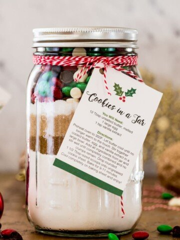 Giftable cookies in a jar with instruction tag