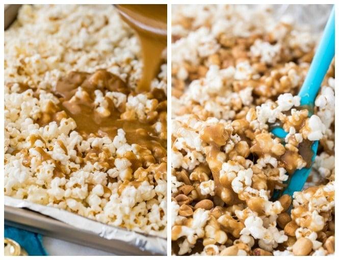 Stirring caramel coating into popcorn