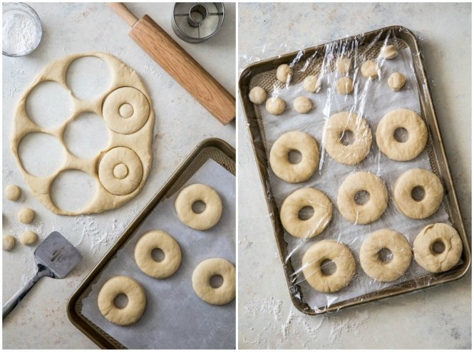 Cutting donuts and donut holes out of donut dough and transferring to baking sheet to rise