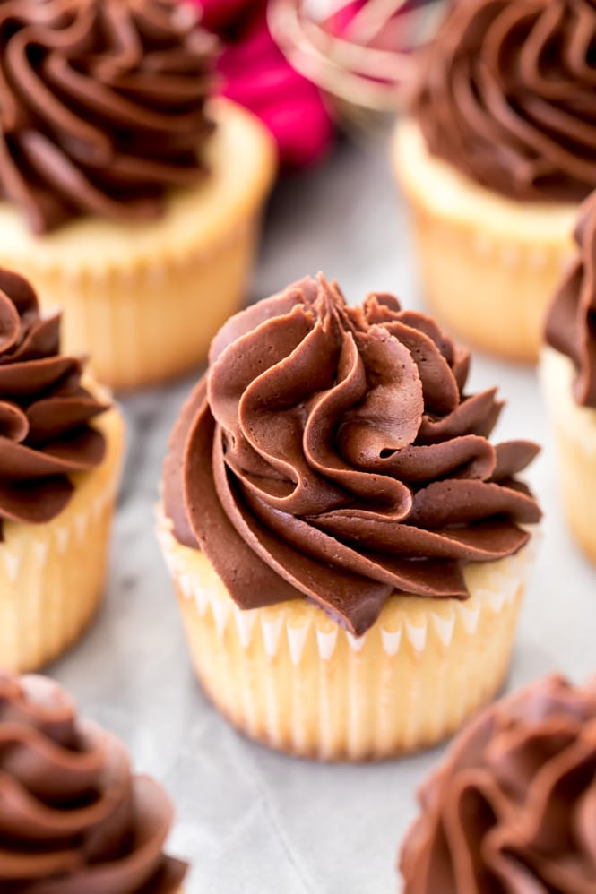 chocolate icing piped on vanilla cupcakes