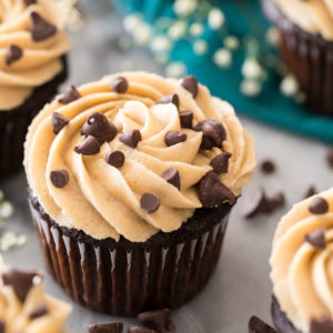 cookie dough frosting on chocolate cupcake
