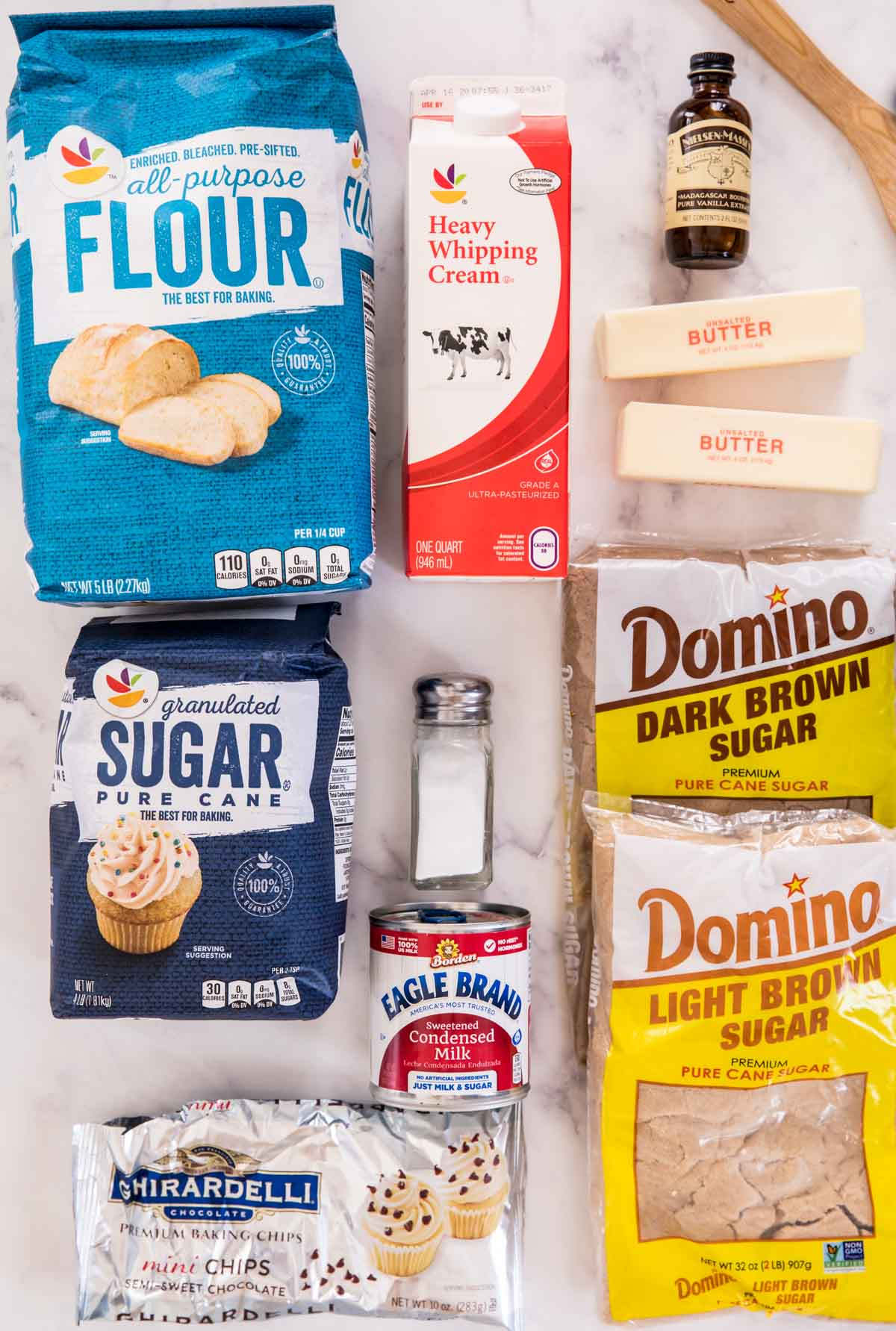 Ingredients for cookie dough frosting