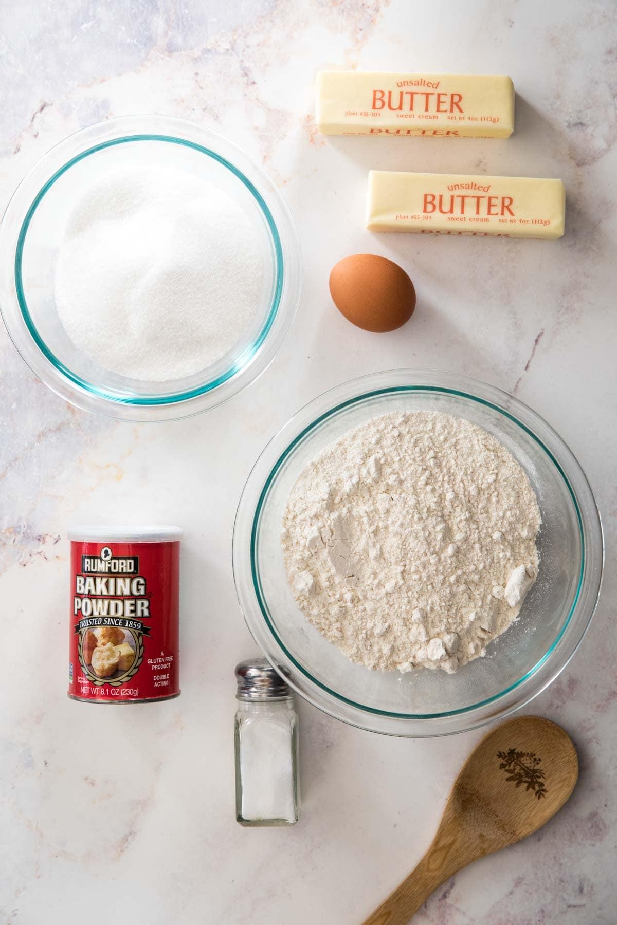 Ingredients for icebox cookies