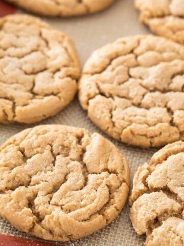 flourless peanut butter cookies on silpat