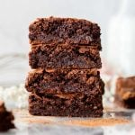 stack of flourless brownies
