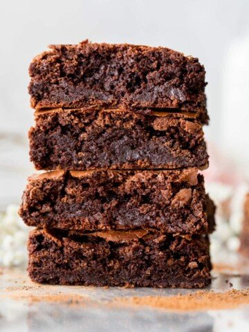 stack of flourless brownies