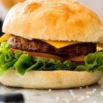 """hamburger. text reads: """"Homemade burger buns"""""""