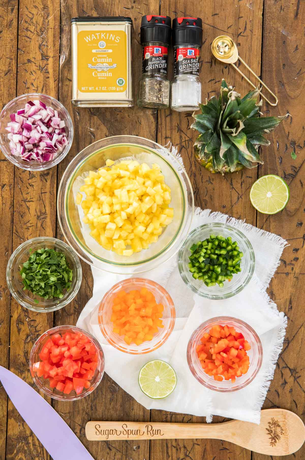 Ingredients for pineapple salsa (after chopping)