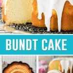 collage of bundt cake on the top, whole baked cake in bottom left and slice of cake on the bottom right