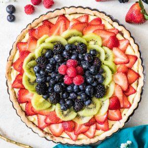 overhead view of fruit tart
