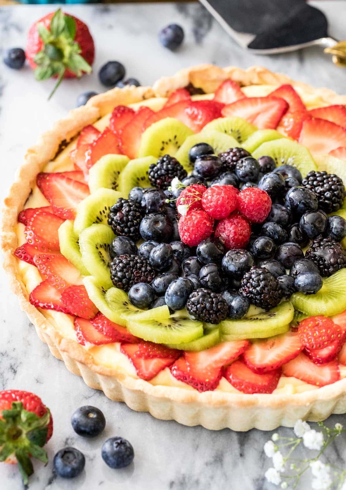 fruit tart on marble board