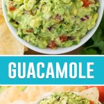guacamole in white bowl: two photos
