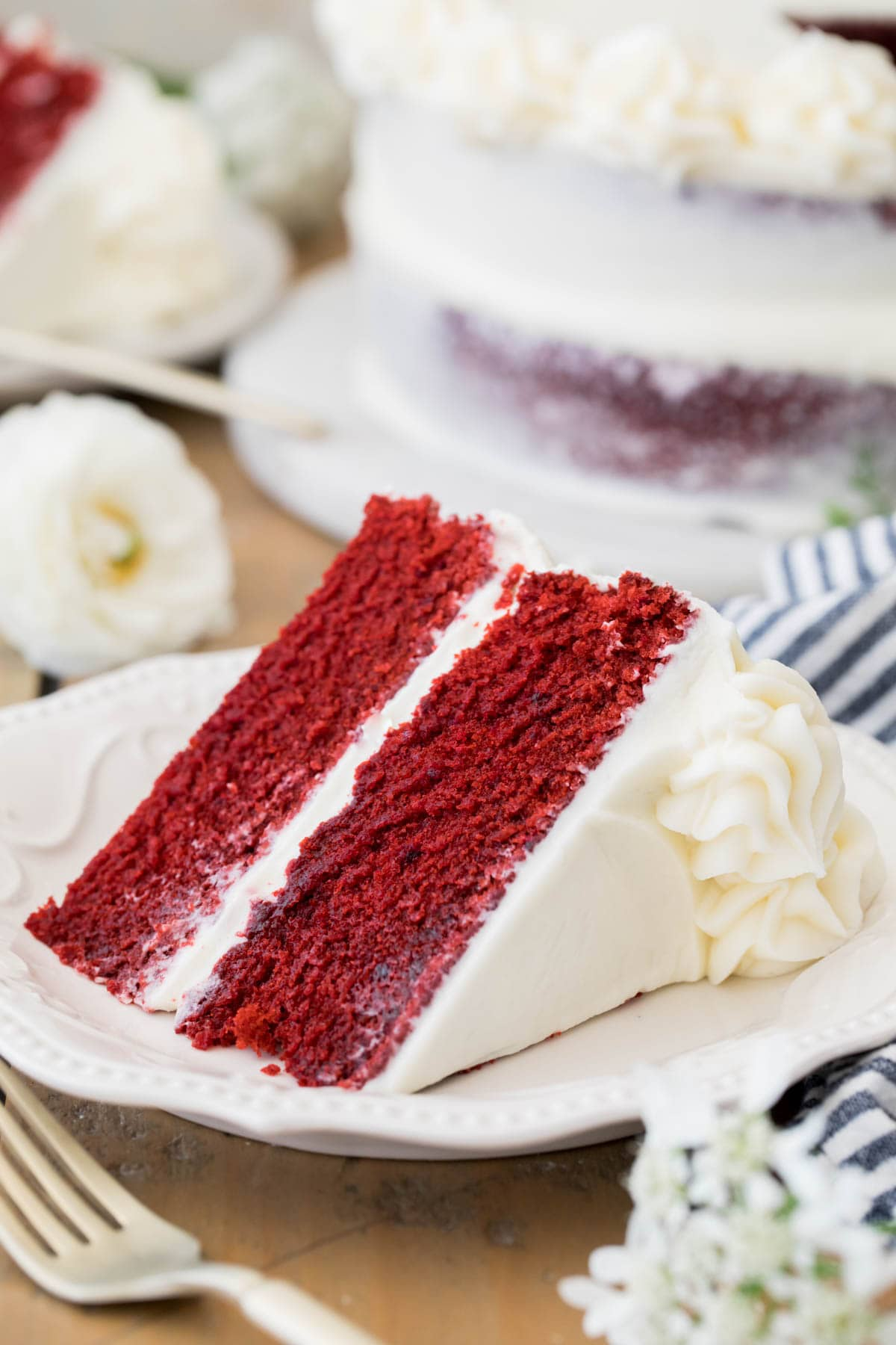 slice of red velvet cake on plate