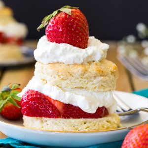 strawberry shortcake layered on white plate