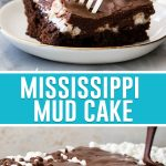 collage of mississippi mud cake on top, pouring chocolate over whole cake bottom