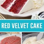 collage of red velvet cake, slice on top, cake layer and frosting in bowl on the bottom