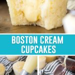 collage of photos of boston cream cupcakes