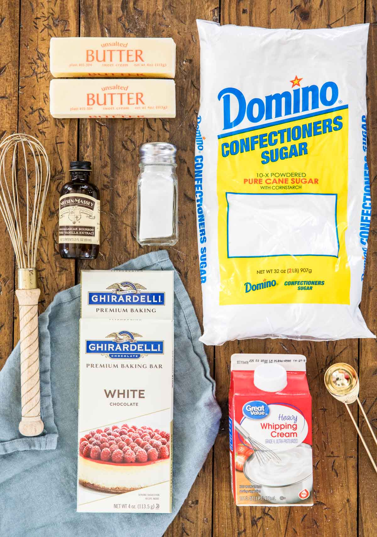 ingredients for white chocolate icing