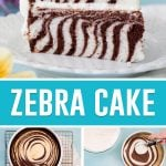 collage of zebra cake, top slice of cake on white plate, bottom in process photos. On bottom left photo of two baked cakes. Bottom right batter being pouring into cake pans.