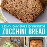 collage of zucchini bread loaf sliced on top, bottom left image is of batter with shredded zucchini on top, bottom right is of loaf still in pan