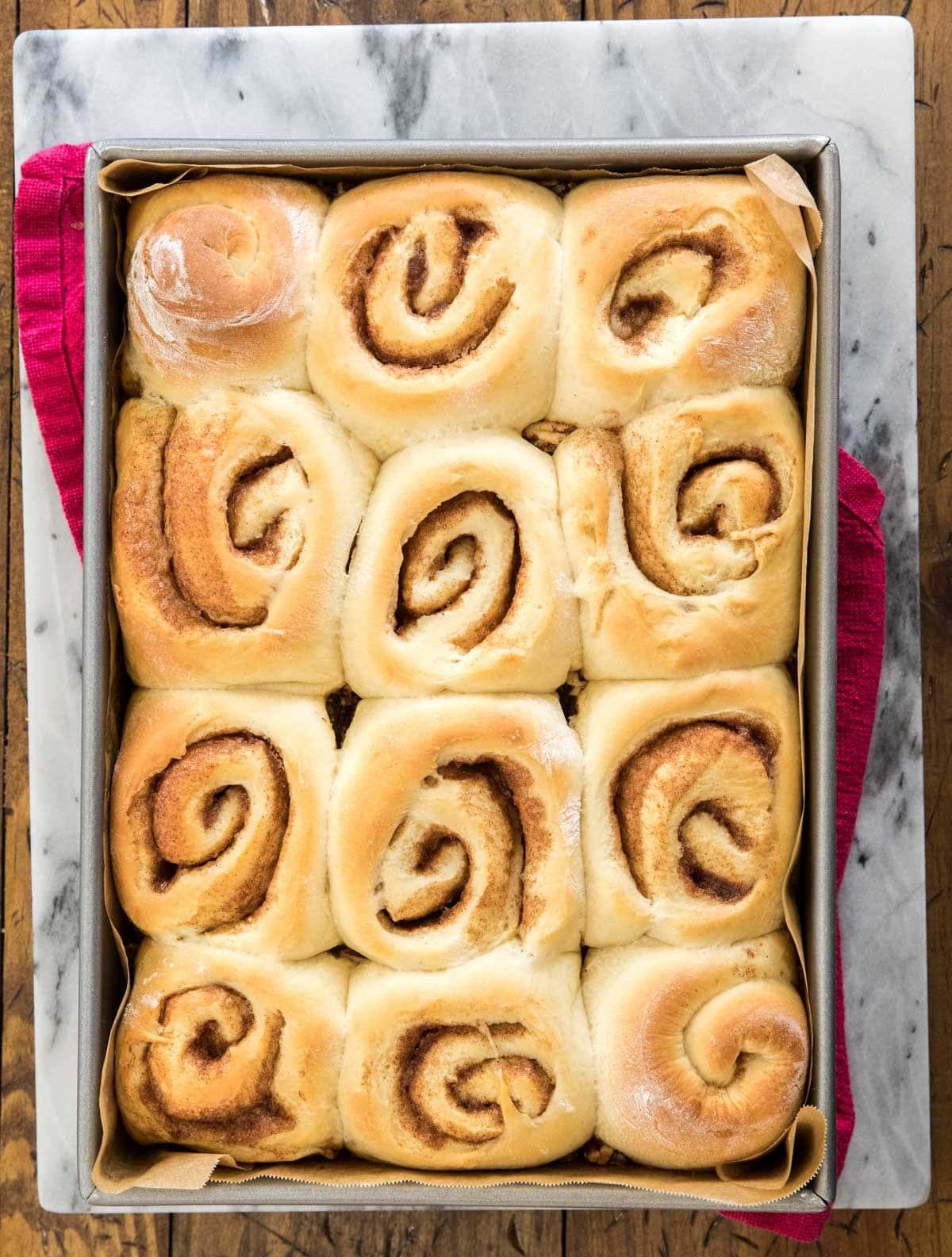 overhead of baked sticky buns
