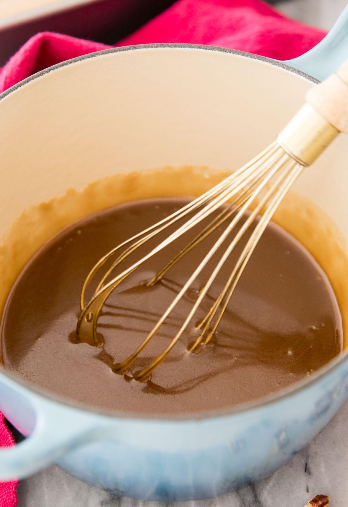 maple glaze in blue pot