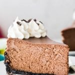 single image of a slice of chocolate cheesecake on white plate, title in teal bar at the top