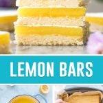 collage of lemon bars, top image is of bars stacked, bottom left image is of lemon filling inside pot, bottom right image is of filling being poured in prepared pan