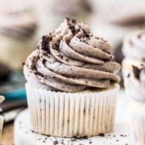 Oreo cupcake on marble