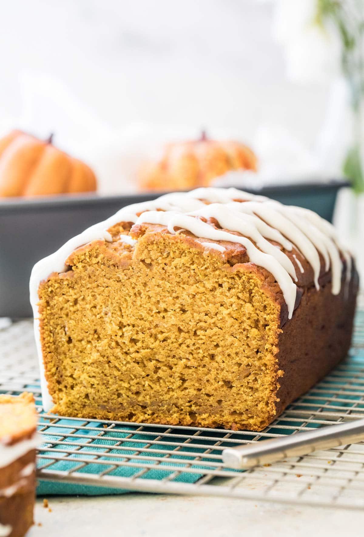 pumpkin bread on cooling rack