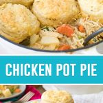 collage of chicken pot pie, top image is of close up of pie with spoons, bottom image is it served on white plate