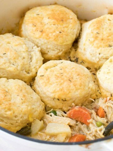 biscuits on top of pot of pot pie