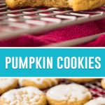 collage of pumpkin cookies, top image is a close up of cookie with bite taken out, bottom is of iced cookies cooling on rack