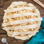 5 strips of pie dough over filling