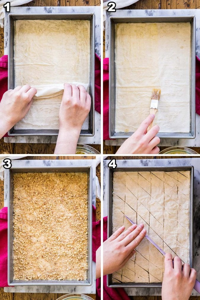 numbered step-by-step how to make baklava