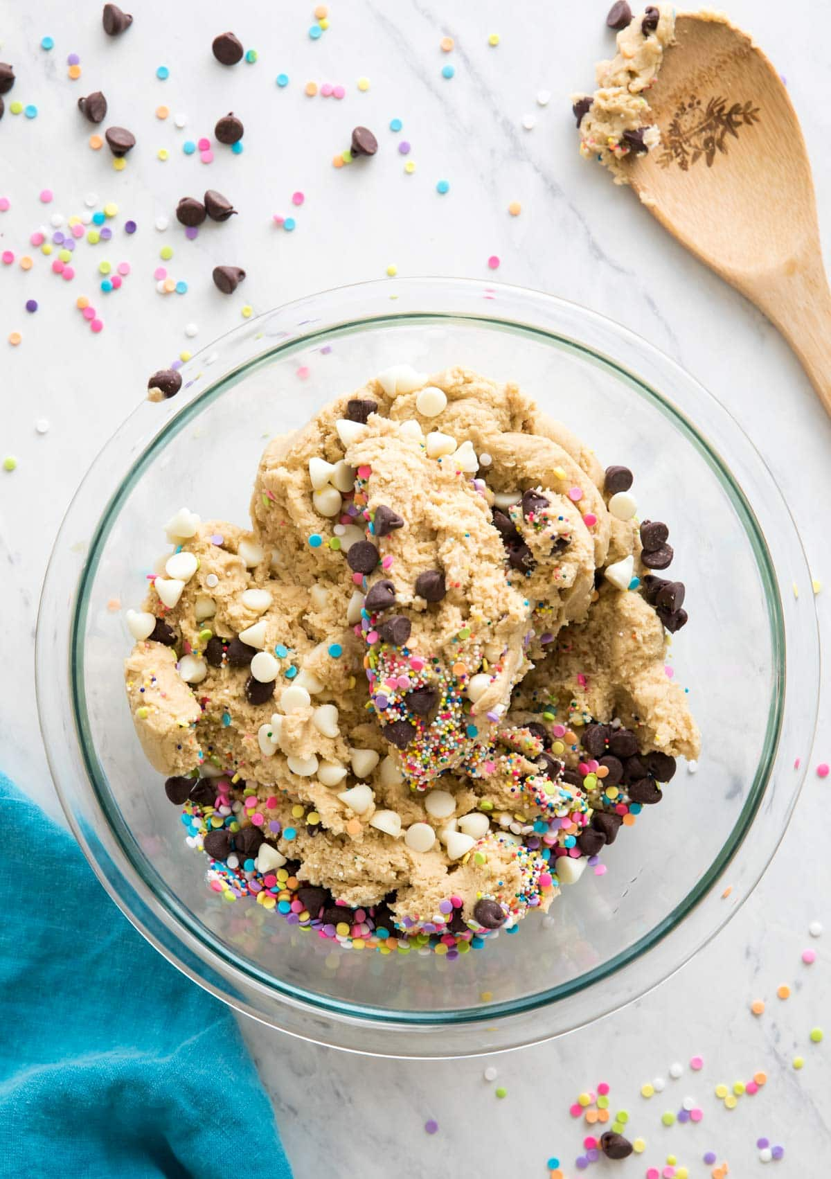 glass mixing bowl with cookie dough