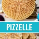 collage of pizzelle cookies, top image of cookies stacked, bottom spaced out on table
