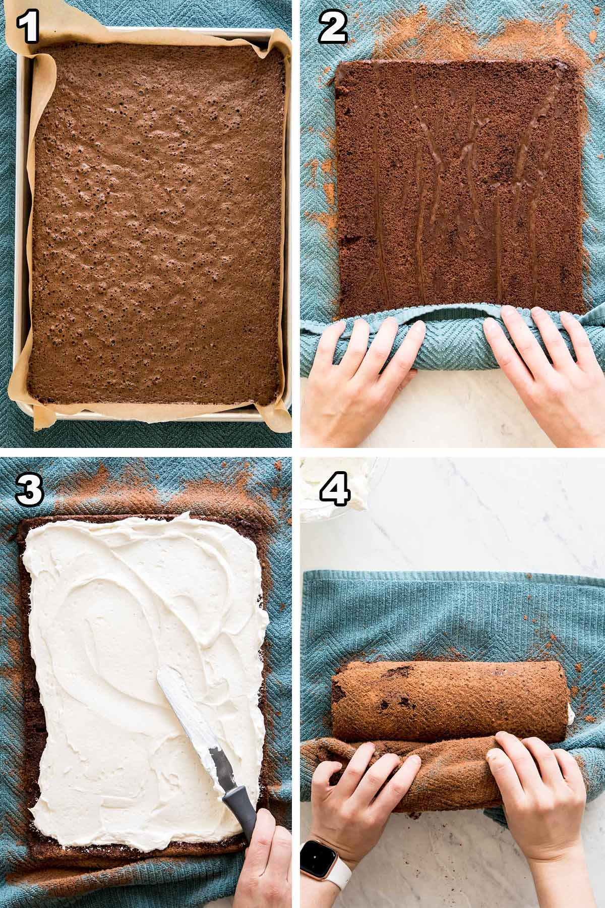4 picture collage: 1) cake in pan 2) rolling cake 3) frosting cake 4) rolling cake again