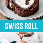collage of swiss roll, top image is of slice on white plate, bottom image of full roll with chocolate being poured on top