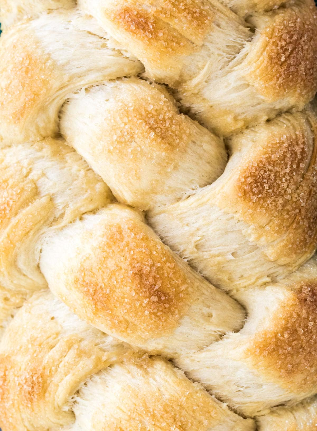 close up of braided sweet bread