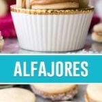 collage of alfajores, top image of cookies in white cup stacked, bottom of cookies laid out on marble board