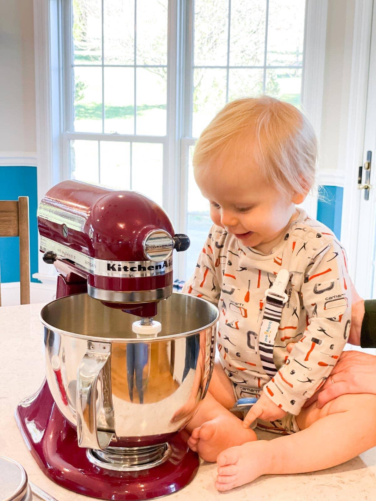 baby boy looking in mixer