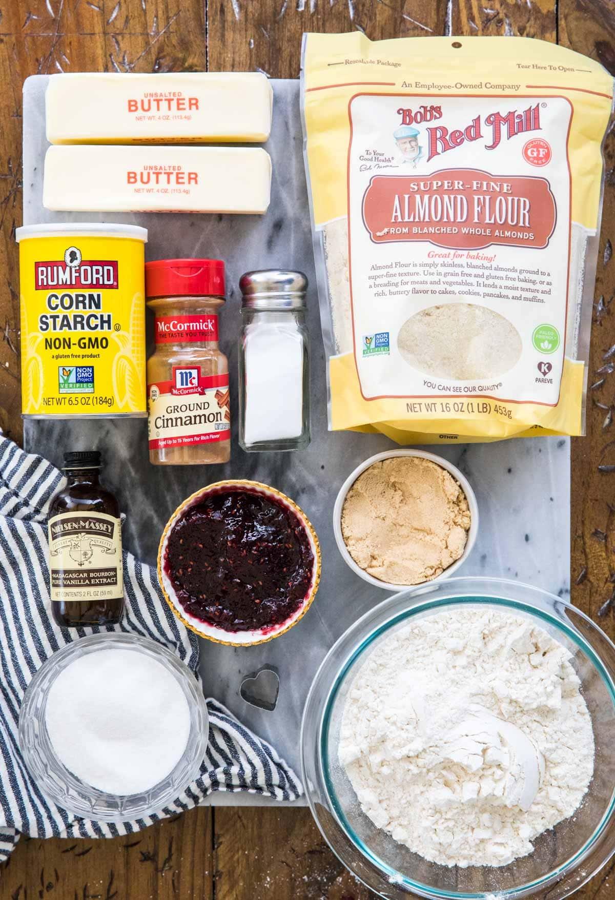 ingredients for linzer cookies