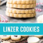 collage of linzer cookies, top image is of three cookies stacked, bottom image is of cookies on marble surface spread out