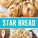 collage of star bread, top image of bread baked close up, bottom image of baked bread on plate with spoon and coffee
