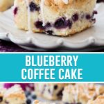 collage of blueberry coffee cake, top image close up of slice with icing being drizzled on top, bottom image of slice on white plate with others surrounding it