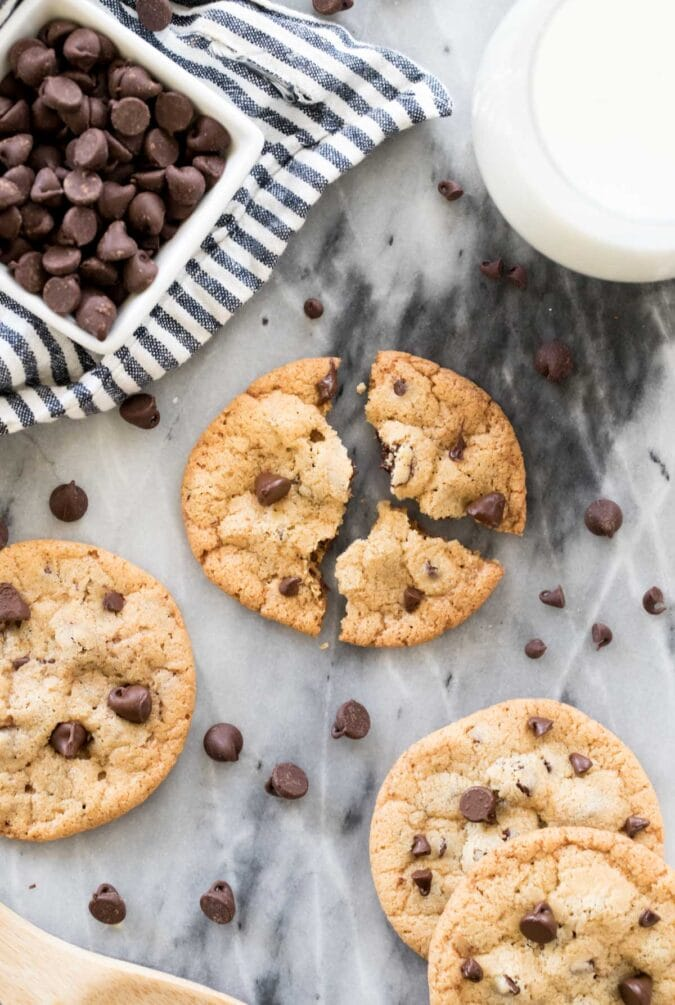 overhead of broken crispy cookie